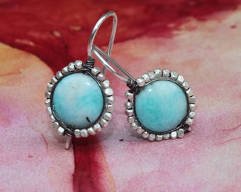 Peruvian Blue Opal Earrings with Faceted Thai Silver Bead Wire Wrapped Bezel Handcrafted