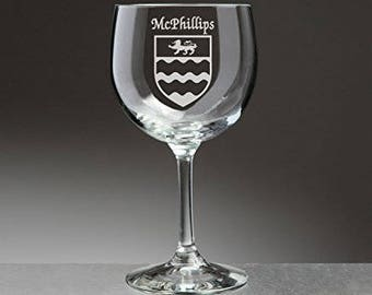 McPhillips Irish Coat of Arms Red Wine Glasses - Set of 4 (Sand Etched)