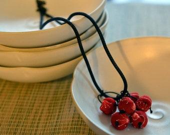 mini chirimen hanamaru necklace red