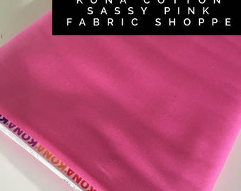 Kona cotton solid quilt fabric, Kona SASSY PINK 1845, Solid fabric Yardage, Kaufman, Quilting Cotton fabric, Choose the cut