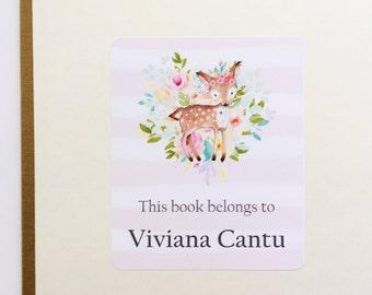 Bookplate- Peel and Stick- Bookplate Labels- Deer Design
