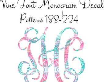 Monogram Decal, Car Monogram, Vine Font Monogram Decal Patterns 188-224