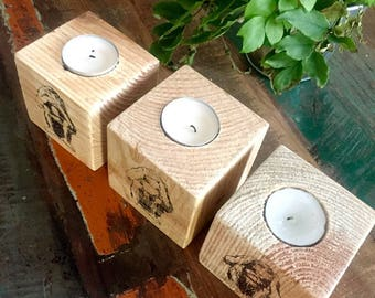 Trio of original reclaimed wood candle holder