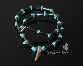 Mens necklace Tribal surfer necklace Mens choker Tusk rocker pendant Turquoise hematite mother of pearl pendant necklace Gift for boyfriend