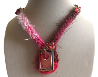Multi-textured Knitted Necklace with Crystals and Pendant - OOAK
