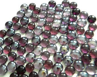 50 Glass Gems - Light & Dark Transparent Grape PURPLE - Mosaic/Floral/Candle Displays/Vase Fillers - Half Marbles/Cabochons/Glass Nuggets