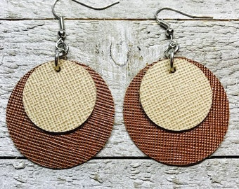 Leather earrings, Earrings, Leather, Jewelry, Leather jewelry, Brown earrings, Double layer earrings, Lightweight earrings, Tan earrings