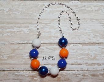 UF Florida Gators Orange and Blue Bubblegum Necklace
