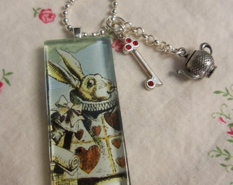White Rabbit Late for Tea Necklace
