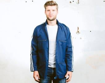 Vintage Rain Jacket . 70s Windbreaker Jacket Festival Coat Outerwear Mens Coat Blue Sports Jacket Activewear . size Medium