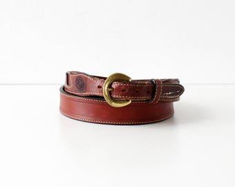 70s Leather Belt • Vintage Leather Belt • 70s Belt • Vintage Jordache Belt • Vintage Brown Belt • Equestrian Belt • Thin Brown Belt   BT387