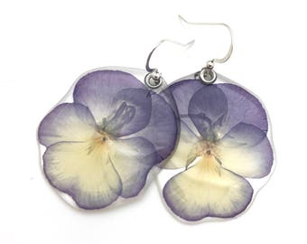 Gardening Gift, Pressed Dried Flower, Flower Earrings, Botanical Jewelry, Nature Inspired, Hostess Gift, Real pressed pansy