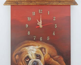 English Bulldog PAINTED CLOCK Hand painted dog portrait Football Wall decor with Heart Pet portrait Original oil painting Rugby ball