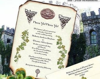 custom order - 1-2 week expedite qty 150 Irish Claddagh Celtic Clover Wedding Scroll Invitations and RSVP Cards