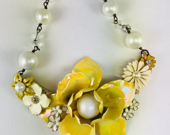 Repurposed Necklace, Statement Necklace, One of a Kind Necklace, Assemblage Necklace,  Bridal Necklace, Yellow and White Necklace