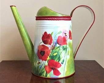 Watering Can, Metal Water Can, Flower Vase, Hand Painted Can, Garden Supplies - POPPIES-2