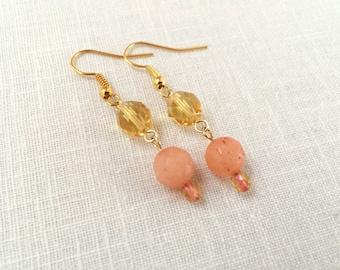 Yellow drop earrings, gold dangle earrings, peach earrings, yellow earrings. Gold bead earrings dangle, glass bead, jade bead earrings drop.