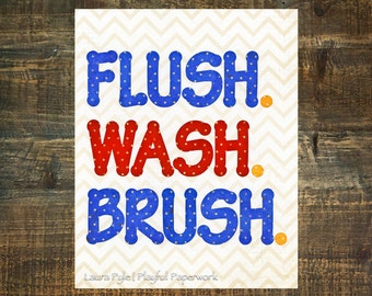 wash brush flush sign, boys bathroom sign, bathroom rules sign, kids bathroom print, wash sign, flush sign, nautical bath, sale items