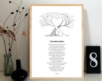 The Guest House by Rumi, my favourite rumi poem, everyday reminder, spiritual inspiration, present, home decor
