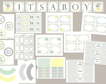 Baby Shower Decorations Elephant Baby Shower Package Baby Shower Decor Printable Boy Baby Shower  Baby Shower Decor green yellow (88)