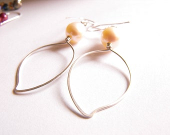 Sterling Silver Hand Forged Leaf Earrings with 4-6mm Pearls