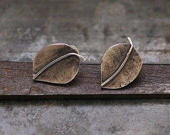 Leaf stud Earrings • Oxidized Silver Earrings • 925  Silver Post  Leaf Studs Small Post Valentine's Gift