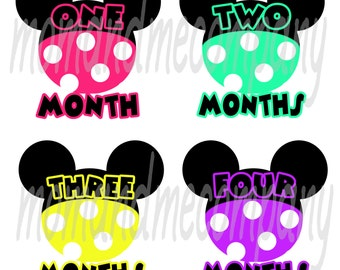 Baby Month Stickers Baby Shower gift girl monthly stickers Infant month stickers Milestone Monthly Onepiece sticker Baby girl Mouse