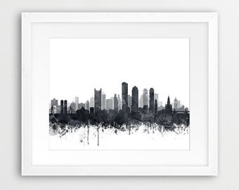Boston Print, Boston City Skyline, Boston Wall Art, Grey Black White  Watercolor Cityscape
