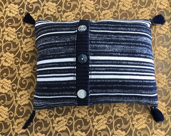 Navy/White Striped Sweater Pillow