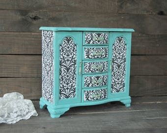 Jewelry Armoire, Jewelry Box, Shabby Chic, Aqua, Teal, Turquoise, Decoupage, Damask, Upcycled, Hand Painted, Large, Tall, Gift for Her