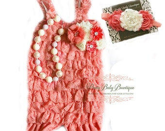 Girl First Birthday Outfit Coral Lace Romper SET, Coral and Cream Cake Smash Outfit , Baby Petti Romper, Baby Girl Lace Romper