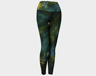 Blue Green Nebula Performance Wear Leggings, Eco-friendly and printed from original art