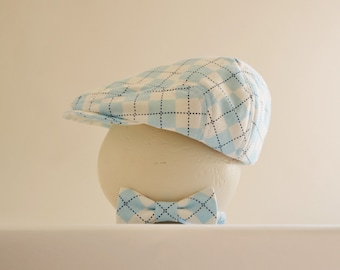 Newborn boy prop, baby blue argyle newborn hat and tie, baby boy shower gift, newborn photo prop - made to order