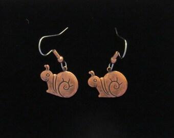 Snail Earrings Antiqued Copper Dwadler Mail Slug Dilly-Dallier Straggler Garden EC046