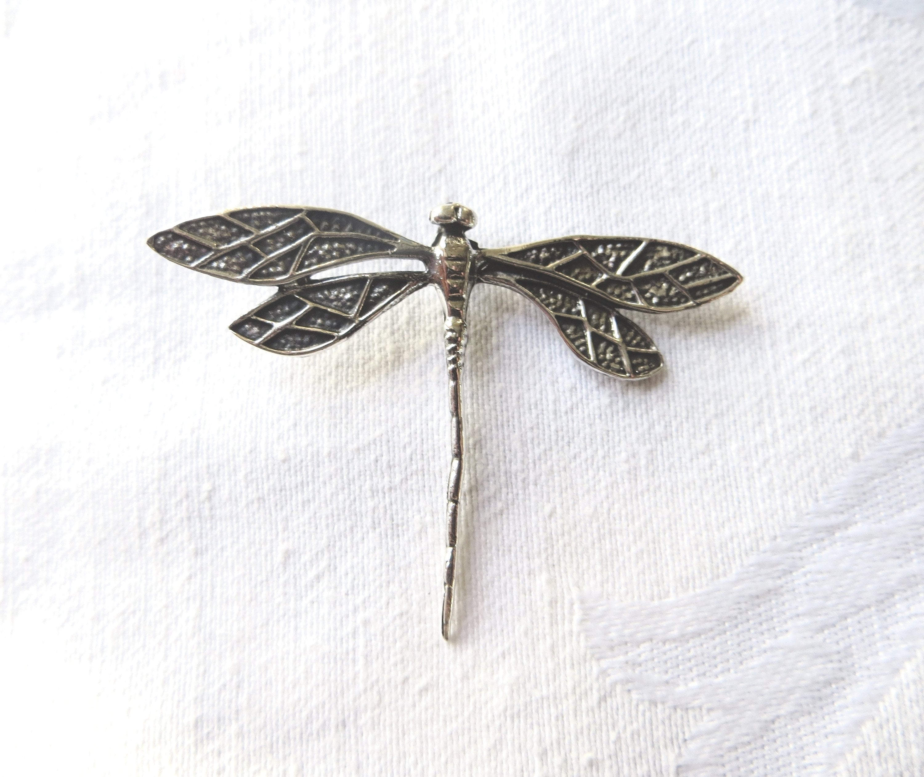 theoldsilverbarrel pin magical sterling dragonfly pendant silver vtg charm long