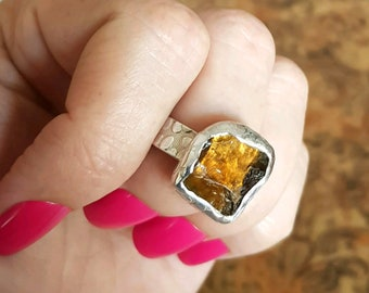 SALE! Raw Citrine Ring, adjustable size, Sterling Silver, Rustic