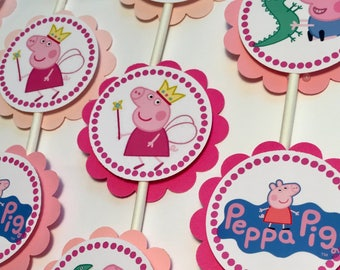 30 Peppa Pig Birthday Dimensional Cupcake Toppers *Ready to Ship*