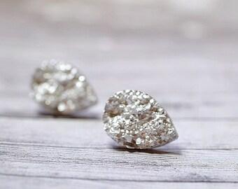 Silver Teardrop Druzy Stud Earrings, Metallic Faux Drusy Stainless Steel Studs, Sparkly Jewelry