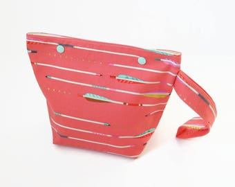 Sock Knitting Bag - Coral and Gold Arrows