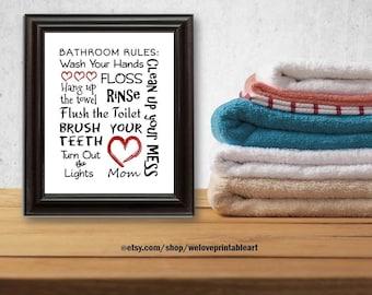 Red White Black Kids Bathroom Art Decor Bathroom Artwork Printable Art Print Instant Download Bathroom Wall Quote Sign Red Black