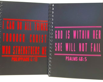 Workout Journal, Faith, Fit Couple; Boyfriend/Girlfriend/Husband/Wife gift,RED & PINK, Workout log books, 5x7 fit gift