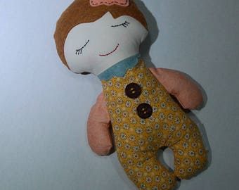 Handmade doll, cloth doll, Darling Button Down Doll, girl doll