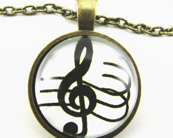 SPLENDID TREBLE CLEF Necklace -- Musical symbol and staff to take you higher, Gift for music lovers,  Make a  joyful noise