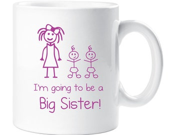 Big Sister Mug Twins White With Pink Text Childrens Gift New Born Gift Im Going To Be A Big Sister Present