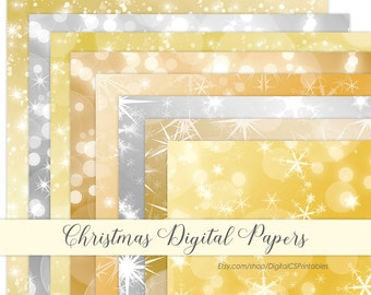 Christmas digital paper Gold digital paper bokeh Christmas Gold Bokeh digital paper Holiday digital paper digital Christmas lights