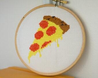 Pizza slice cross stitch pattern