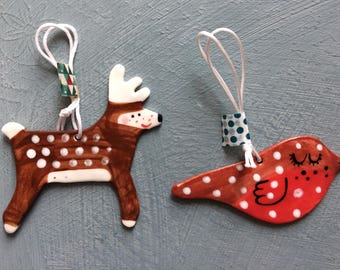 Reindeer and Robin Hanging Porcelain Decorations.ornament/Christmas decorations/kitsch decorations