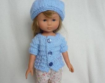 "Hand Knitted Short-Sleeve Sweater & Beret (Pale Blue) for 13"" Doll  (Les Cheries, Little Darling, Similar) - Ready to Ship"
