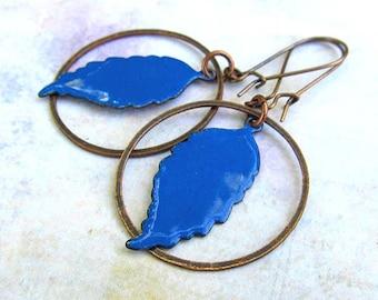 Feather earrings Copper earrings Western jewelry blue earrings torch enamel copper jewelry