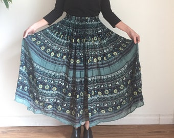 Vintage Cotton Gauze Skirt, Indian Cotton Gauze Maxi Skirt, Paper Thin, Circle SKirt, Flowy BOHO skirt, Hippie Gypsy, Blue Large Block Print